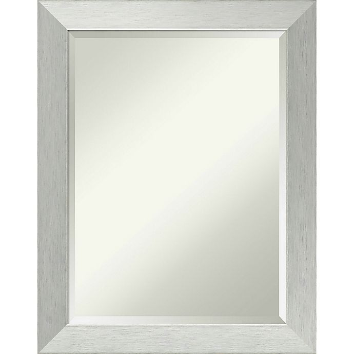 Alternate image 1 for Amanti 22-Inch x 28-Inch On-the-Door/Wall Mirror in Brushed Sterling Silver