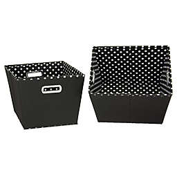 Household Essentials® Medium Fabric 2-Toned Tapered Bins (Set of 2)