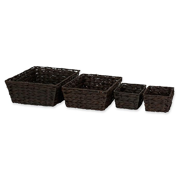Alternate image 1 for Household Essentials® 4-Piece Banana Leaf Wicker Storage Basket Set