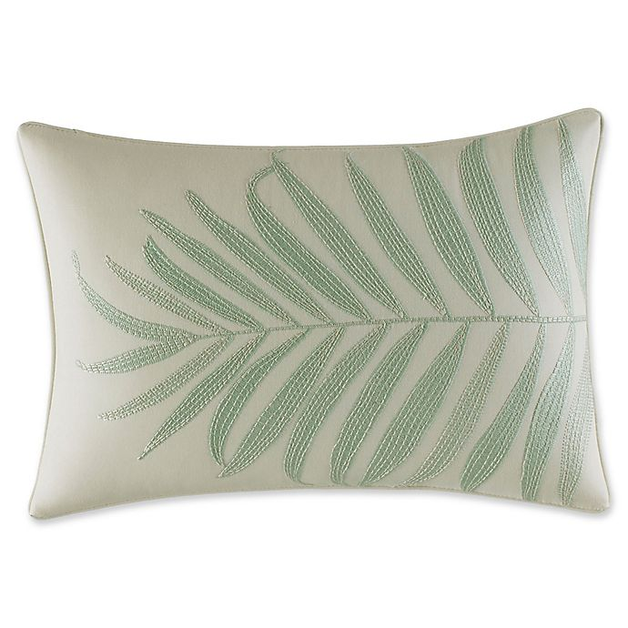 Alternate image 1 for Tommy Bahama® Abacos Embroidered Palm Oblong Throw Pillow in Aqua
