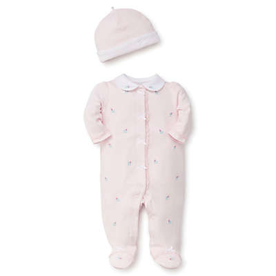 Little Me® 2-Piece Rose Footie and Hat Set in Pink