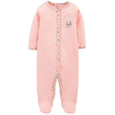 carter's® Bunny Ribbed Cotton Footed Coverall in Pink