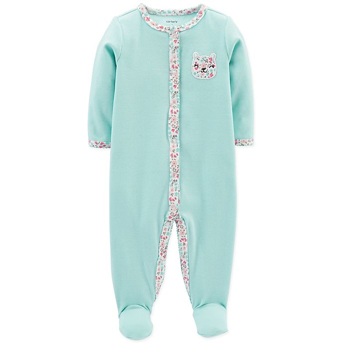 Alternate image 1 for carter's® Size 3M Snap-Up Floral Bear Sleep & Play Footie in Mint