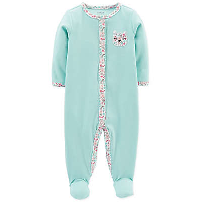 carter's® Snap-Up Floral Bear Sleep & Play Footie in Mint