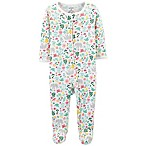 carter's® Size 3M Zip-Up Floral Thermal Sleep & Play Footie in Ivory