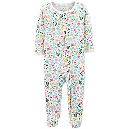 carter's® Zip-Up Floral Thermal Sleep & Play Footie in Ivory