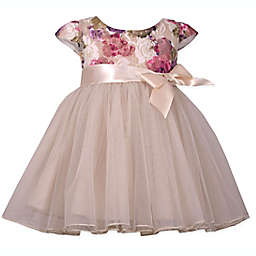Bonnie Baby Floral Sparkle Lace Ballerina Dress in Ivory