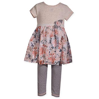 Bonnie Baby 2-Piece Floral Chiffon Skirt Dress and Legging Set
