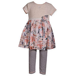 Bonnie Baby 2-Piece Floral Chiffon Skirt Dress and Legging Set