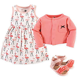 Hudson Baby® Flamingos 4-Piece Dress, Cardigan and Shoe Set in Pink
