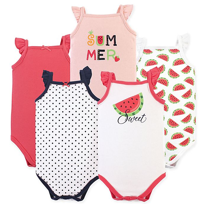 Alternate image 1 for Hudson Baby® Size 12-18M 5-Pack Watermelon Sleeveless Bodysuits in Red