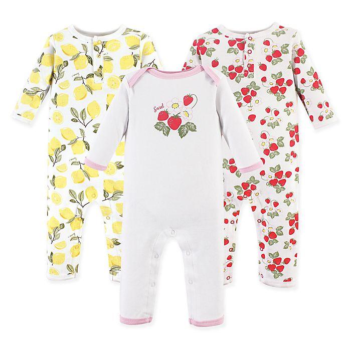 Alternate image 1 for Hudson Baby® 3-Pack Strawberry/Lemon Long Sleeve Union Suits