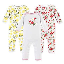 Hudson Baby® 3-Pack Strawberry/Lemon Long Sleeve Union Suits