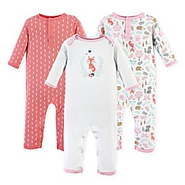 Hudson Baby® 3-Pack Fox Long Sleeve Union Suits in White