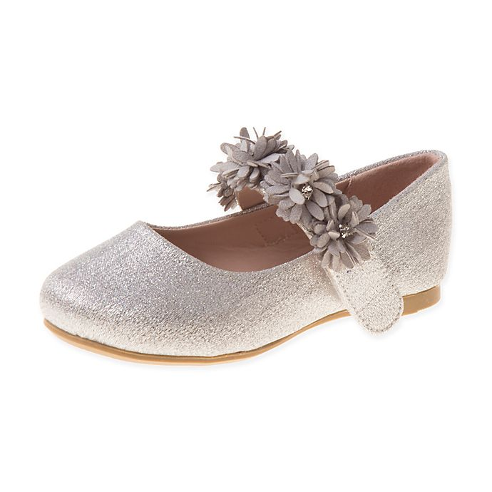 Alternate image 1 for Laura Ashley® Flower Band Shoe in Silver