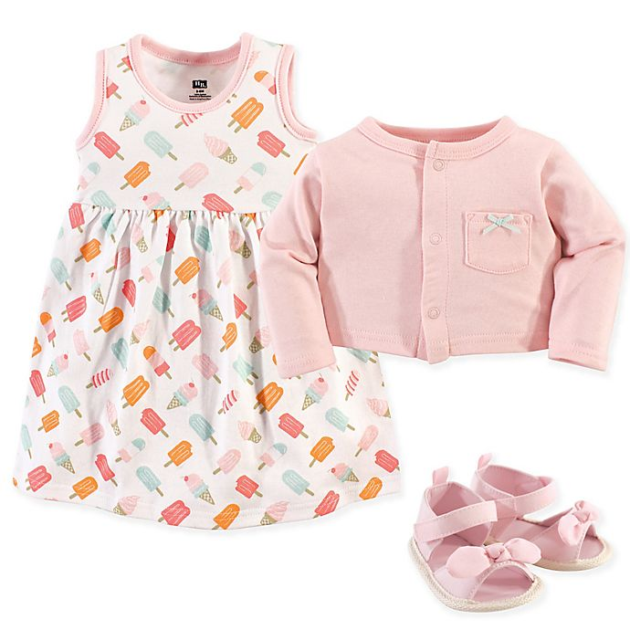 785306b5f Hudson Baby® 3-Piece Ice Cream Cardigan, Dress and Shoe Set in Pink ...