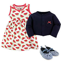 Hudson Baby® Watermelon 4-Piece Dress, Cardigan and Shoe Set in Red/Blue