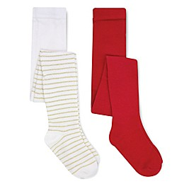 On the Goldbug™ 2-Pack Holiday Tights in Red/Ivory