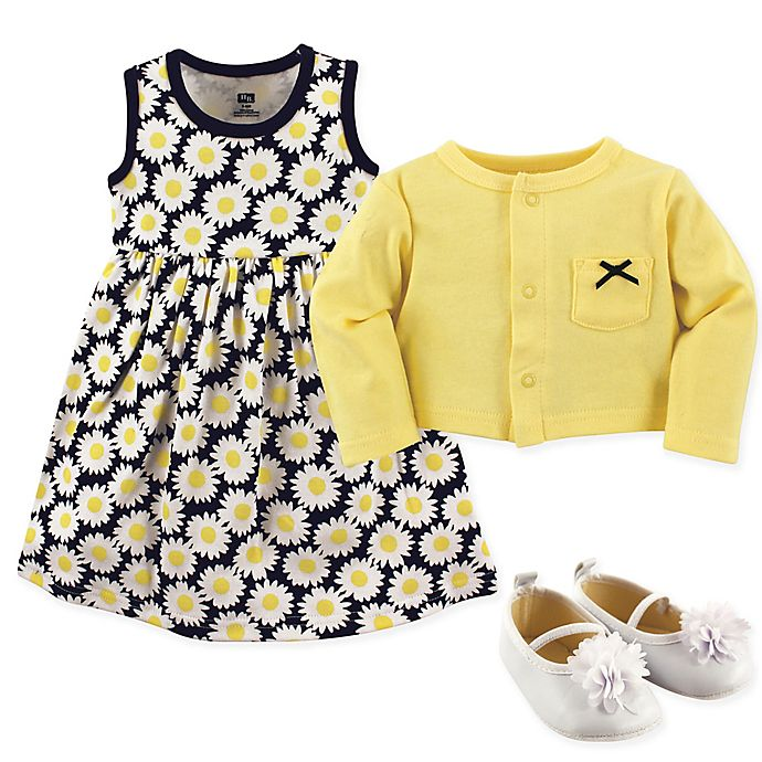 cb9189be0f18 Hudson Baby 3-Piece Daisy Cardigan, Dress and Shoe Set in Blue/Yellow