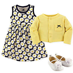 Hudson Baby 3-Piece Daisy Cardigan, Dress and Shoe Set in Blue/Yellow