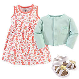 Hudson Baby 3-Piece Sea Cardigan, Dress and Shoe Set in Mint/Coral
