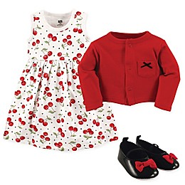 Hudson Baby 3-Piece Cherry Cardigan, Dress and Shoe Set in Red/Black