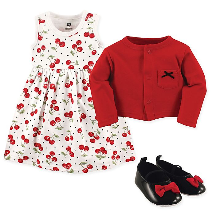 Alternate image 1 for Hudson Baby 3-Piece Cherry Cardigan, Dress and Shoe Set in Red/Black