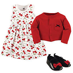 Hudson Baby Size 6-9M 3-Piece Cherry Cardigan, Dress and Shoe Set in Red/Black