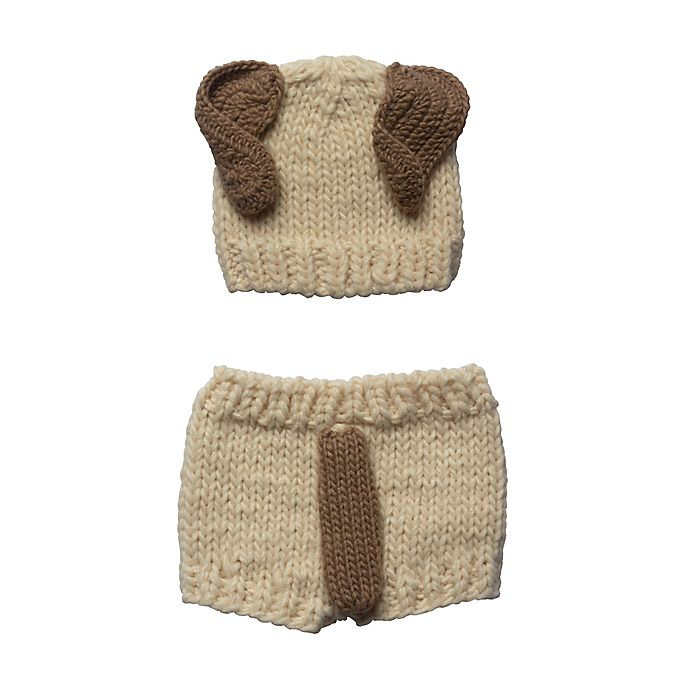 Alternate image 1 for So' Dorable Size 0-3M 2-Piece Knit Puppy Diaper Cover Set