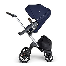 Stokke® Xplory® Stroller with Silver Frame and Brown Handle