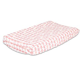 The PeanutShell™ Swan Changing Pad Cover in Light Coral