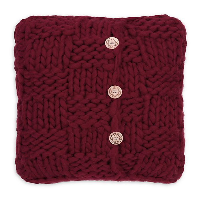 Alternate image 1 for UGG® Layne Chunky Knit Button Throw Pillow in Redwood