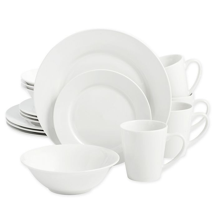 Alternate image 1 for SALTâ?¢ Round Rim 16-Piece Dinnerware Set in White