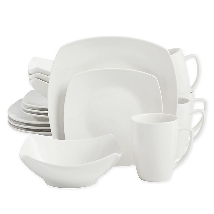 Salt Soft Square 16 Piece Dinnerware Set In White Bed