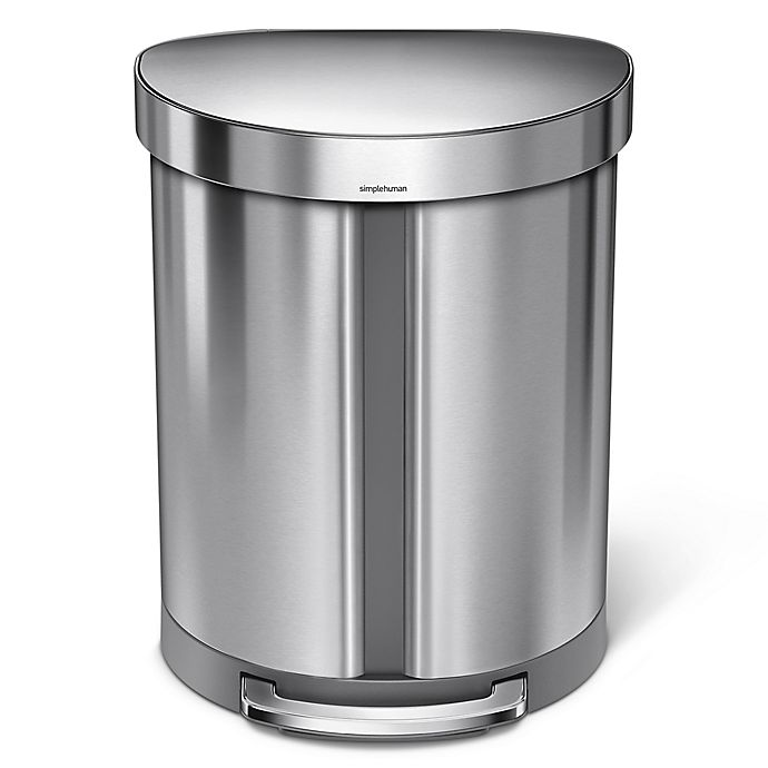 Alternate image 1 for simplehuman® Dual Compartment Semi-Round 55-Liter Step Trash Can