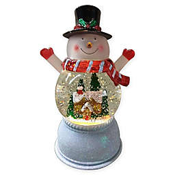 Pre-Lit Snowman Snow Globe in Warm White