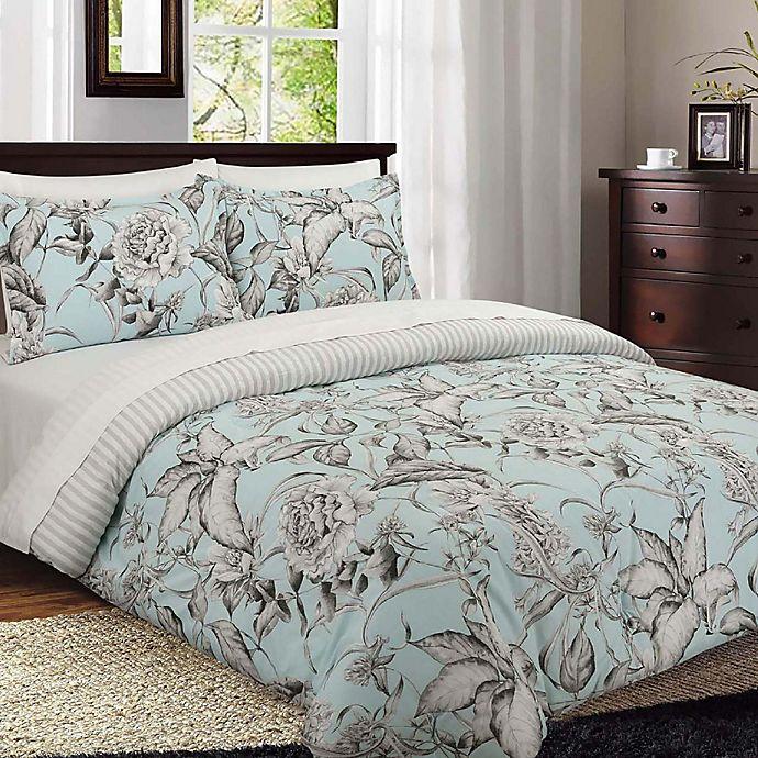 Alternate image 1 for Nouvelle Home Sketch Floral Reversible King Comforter Set in Blue/Grey