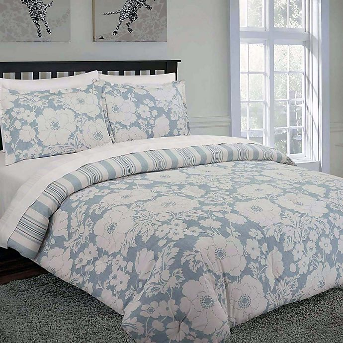 Alternate image 1 for Nouvelle Home Chambray Floral Reversible King Comforter Set in Blue/White