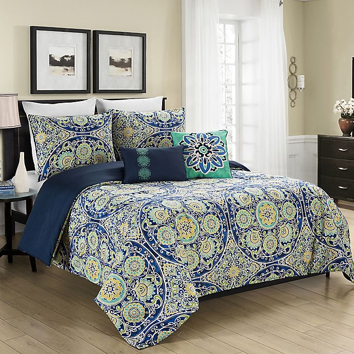 Alternate image 1 for MHF Home Malia 5-Piece Full/Queen Reversible Comforter Set in Blue