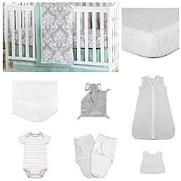 The PeanutShell™ Minted Damask 11-Piece Sleep Essentials Crib Set in Mint/Grey