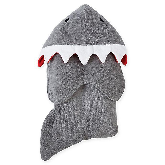 Alternate image 1 for Mud Pie® Shark Hooded Terry Towel in Grey