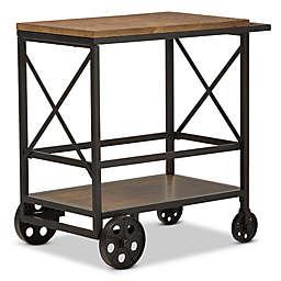 Baxton Studio Chester Mobile Serving Cart in Oak/Black