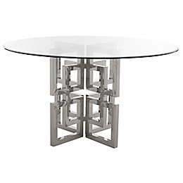 Safavieh Harlan Chrome and Glass Round Dining Table