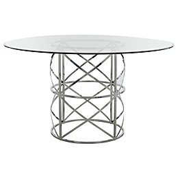 Safavieh Ren Chrome and Glass Round Dining Table