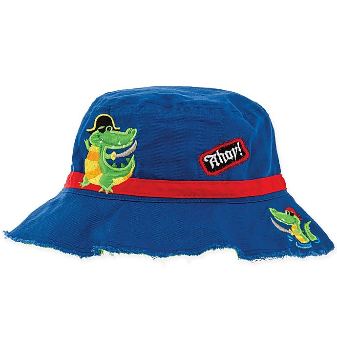 Alternate image 1 for Stephen Joseph® Alligator Pirate Bucket Hat in Blue