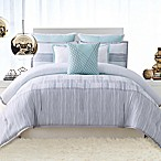 Vince Camuto® Kasu Striped Reversible Full/Queen Comforter Set in White/Grey
