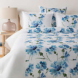 Surya Gardenia 2-Piece Twin Duvet Cover Set in White/Pale Blue