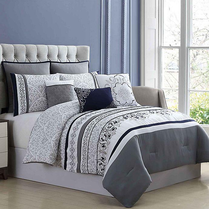 Hayworth Plain Weave Oversized 8 Piece Comforter Set Bed