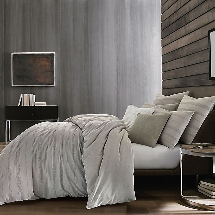 Alternate image 1 for Kenneth Cole Thompson Full/Queen Duvet Cover in Stone