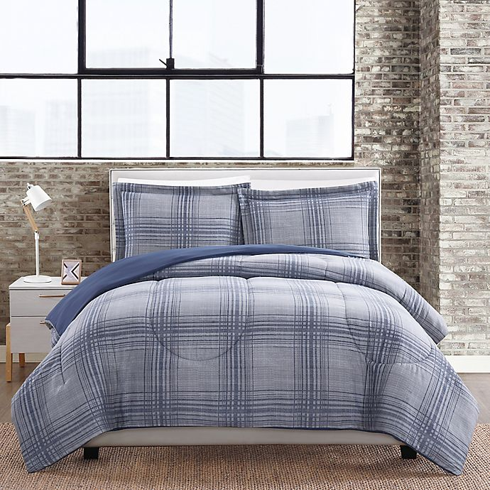 Alternate image 1 for Linen Plaid 3-Piece Full/Queen Comforter Mini Set in Blue